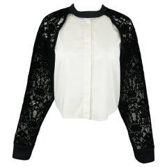DKNY Size S Black & White Velvet Lace Sleeve High Low Shirt Blouse