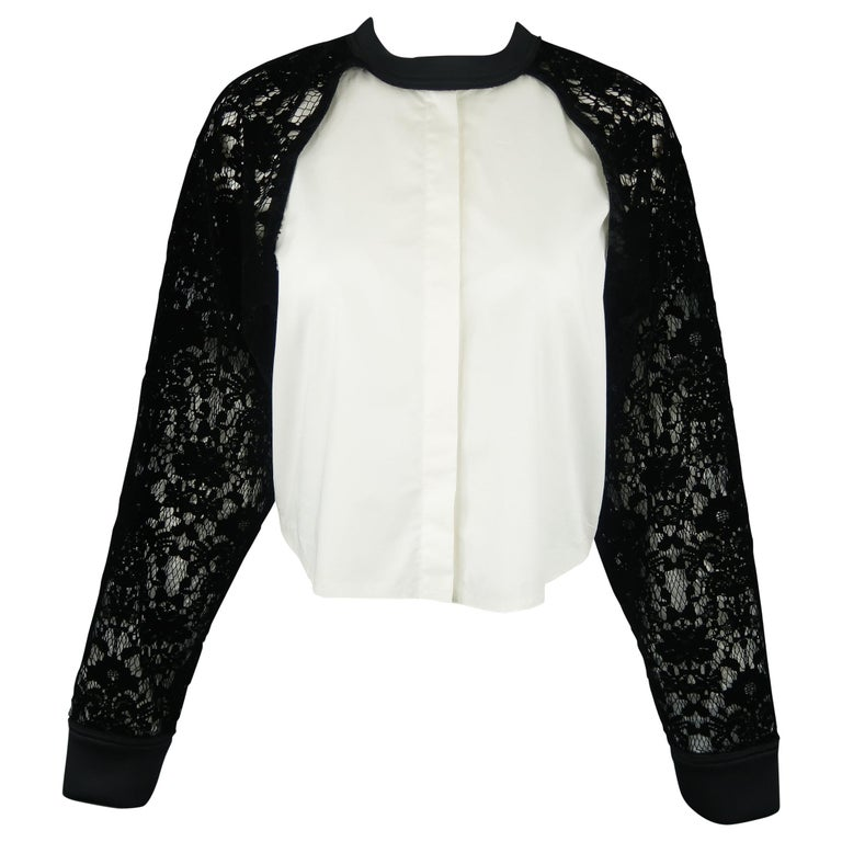7bec871d259692 DKNY Size S Black & White Velvet Lace Sleeve High Low Shirt Blouse For Sale