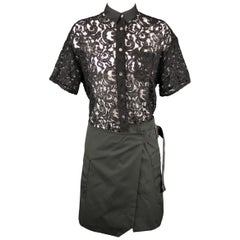 SACAI LUCK Size M Black Lace Wrap Military Skirt Dress