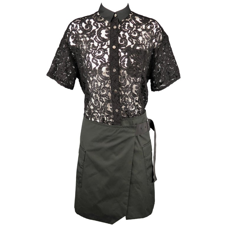 SACAI LUCK Size M Black Lace Wrap Military Skirt Dress For Sale