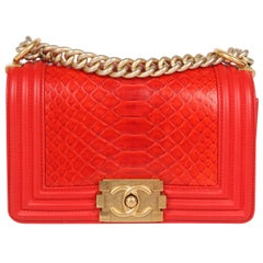 Chanel Quilted Lambskin & Python Le Boy Bag Mini - red