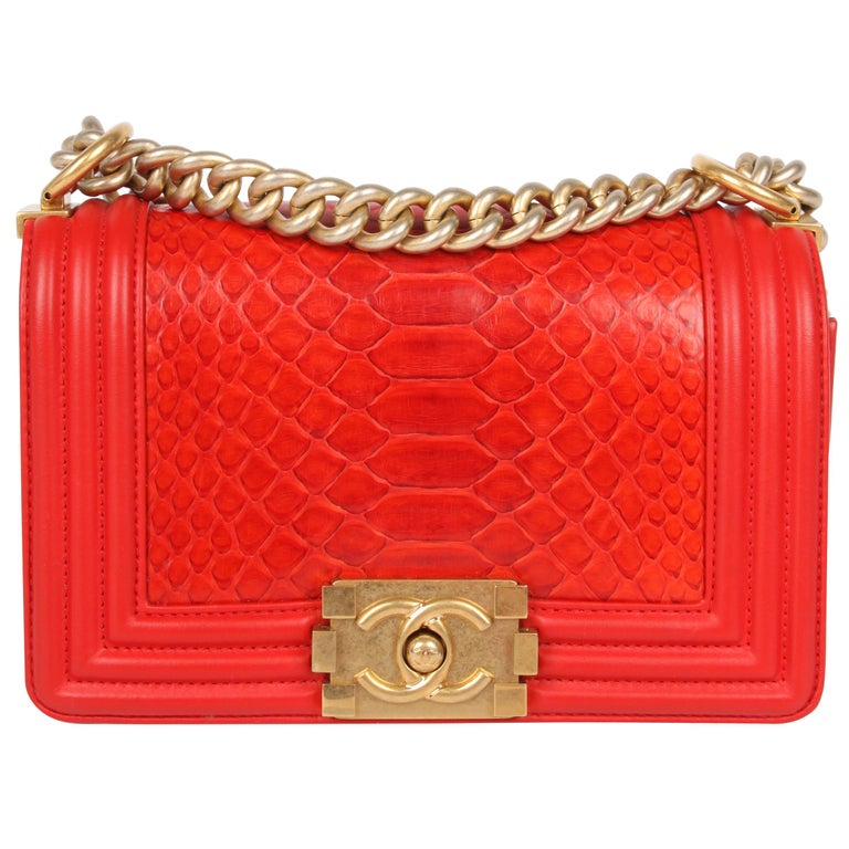2d74283aec0133 Chanel Quilted Lambskin and Python Le Boy Bag Mini - red For Sale at ...