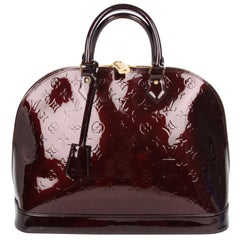 Louis Vuitton Alma GM Tote Bag - burgundy patent leather