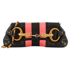 Gucci Jeweled Snake Clutch Leather with Lizard Detail Large
