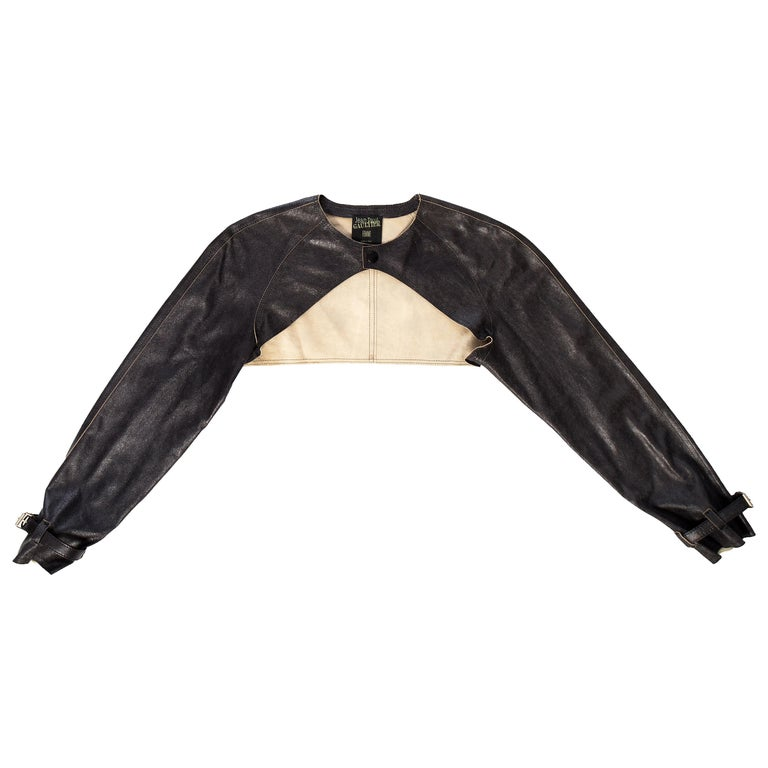 Jean Paul Gaultier black leather cropped jacket, S/S 2001 For Sale