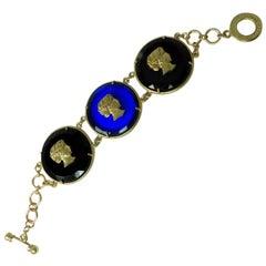Patrizia Daliana Italian Bronze  and Murano Glass Bracelet