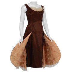 1950's Don Miguel Chocolate Brown Silk Shelf-Bust Skirted Ruffle Cocktail Dress
