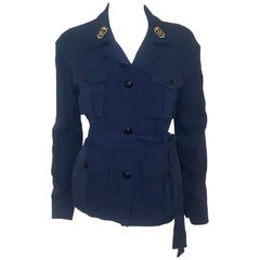 Emilio Pucci Military Blue Silk Long Sleeve Shirt Jacket