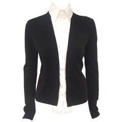 Chanel Black Cashmere Cardigan W/ Detachable Cotton Blouse '04 Fall Runway