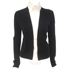 Chanel Black Cashmere Cardigan W/ Detachable Cotton Blouse '04 Fall Runway 40