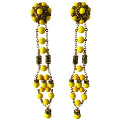 Dramatic French Yellow Shoulder Duster Statement Earrings