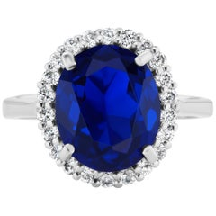 Mini Princess Diana Faux Sapphire Cubic Zirconia Sterling Ring