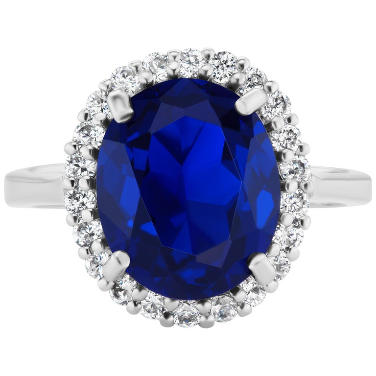 Mini Princess Diana Synthetic Sapphire Cubic Zirconia Sterling Ring For Sale