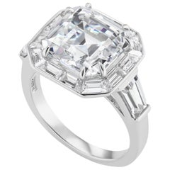Art Deco Style Synthetic Square Diamond Halo Style Silver Ring