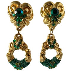 Vintage 1980's Dramatic French Baroque Statement Earrings