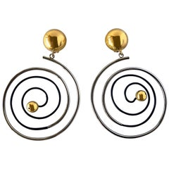 Vintage French Swirl Opt Art Statement Earrings