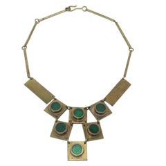 1960's Artisan Brass & Emerald Green Glass Modernist Bib Necklace