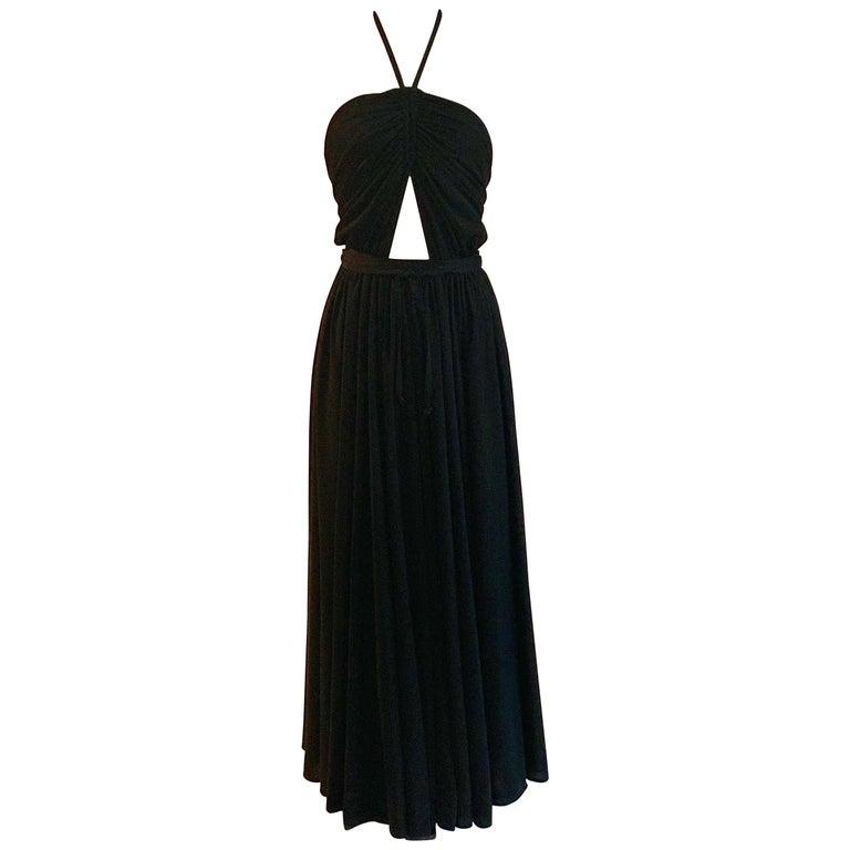 Adele Simpson 1970s Black Peekaboo Halter Jersey Maxi Dress