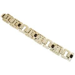 Ciner Art Deco-Style Geometric Link Rhodium Bracelet 1960s