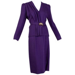 St John Purple Asymmetrical Drape Skirt Suit with Belt, 1980s