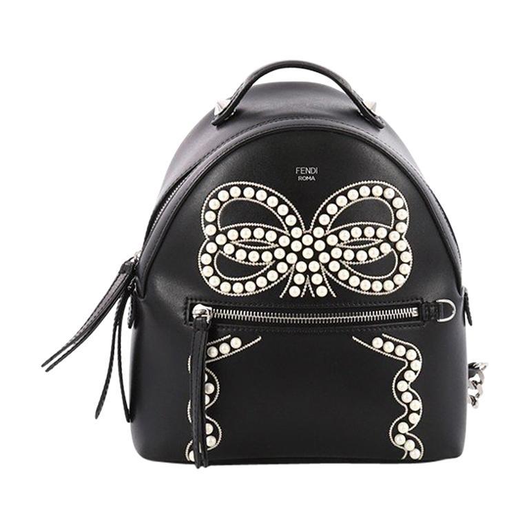 Fendi Front Zip Backpack Embellished Leather Mini