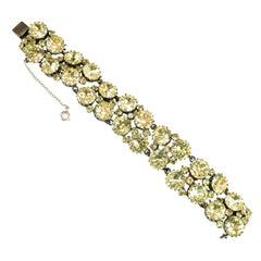 Austrian Hand-Created Canary Crystal Link Bracelet 1930s