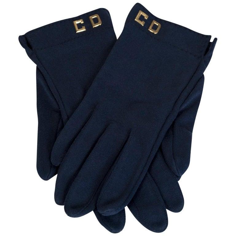 Christian Dior Navy Monogram Wrist Gloves, 1970s