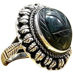 Antique 800 Silver Mid Victorian Egyptian Revival Carved Blue Quarts Scarab Ring