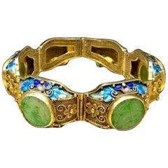 Antique 1900s Art Nouveau Carved Jade Gilded Sterling Chinese Filigree Bracelet