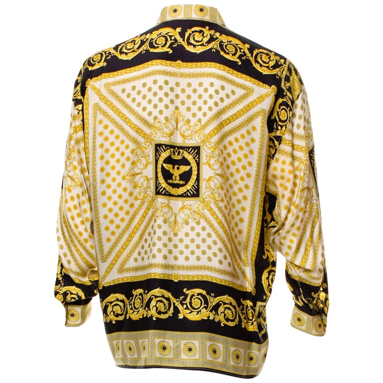8f5fe119 V2 Gianni Versace 1999 Black and Gold Baroque Imperial Eagle 100% Silk Shirt  For Sale