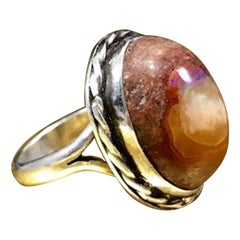 Vintage Mid Century 950 Sterling Silver Large Cabochon Cut Boulder Opal Ring