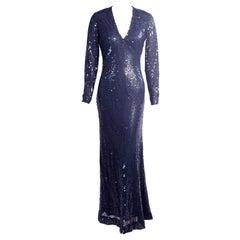 1970's Bill Blass Navy Blue Sequin Evening Gown