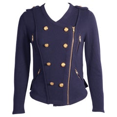 Phillip Lim Military Inspired Navy Blue Cashmere Cardigan