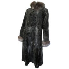 Reversible light weight Broadtail Lamb long fur coat with silver fox fur