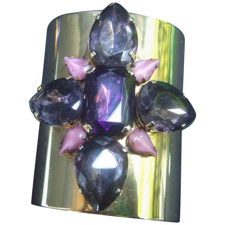 Erickson Beamon Wide Gilt Metal Pastel Crystal Jeweled Cuff Bracelet circa 1990s For Sale