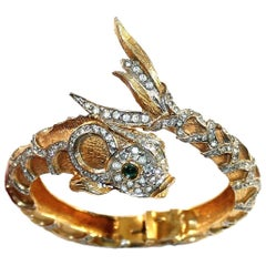 Circa 1970s K.J.L. Jeweled Koi Hinged Bangle