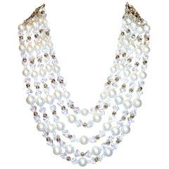 Circa 1960s Schiapareli Faux-Pearl Bib Necklace