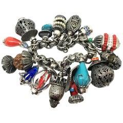 Circa 1950's Napier Jeweled Lantern Charm Bracelet