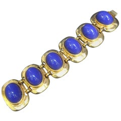 Kenneth Lane Gilt Metal Cobalt Resin Link Bracelet circa 1990s