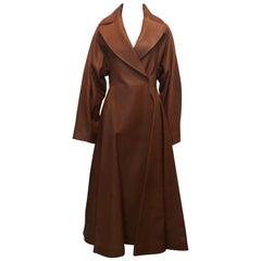 The Row Long Caramel Leather Coat Size 6
