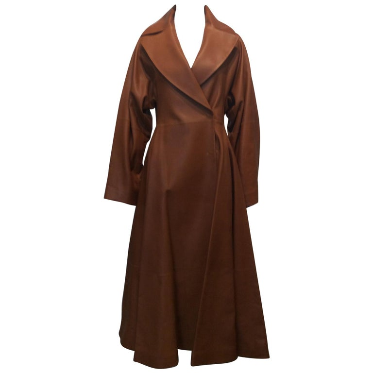 The Row Long Caramel Leather Coat Size 6 For Sale