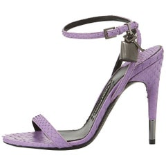 Tom Ford NEW Lavender Snakeskin Lock Strappy Evening Sandals Heels