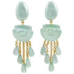 Dominique Denaive Paris Signed Turquoise Resin Dangling Clip on Earrings