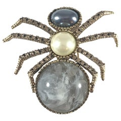 Ciner Spider Faux Pearl and Rhinestone Brooch 1970s