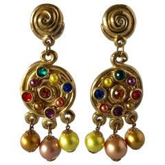 Vintage 1980's Dramatic French Gold Statement Jeweled Chandelier Earrings