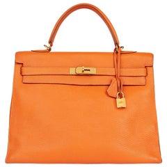 2005 Hèrmes Orange H Togo Leather Kelly 35cm Sellier