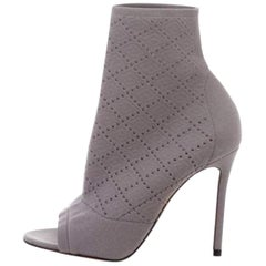 Gianvito Rossi Knit Peep-Toe Ankle Boots