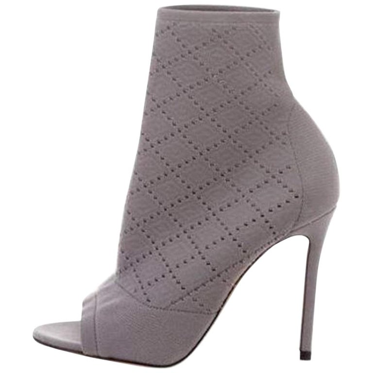 64471174784 Gianvito Rossi Knit Peep-Toe Ankle Boots