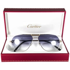 New Vintage Cartier Tank Platine 59mm Platine Gold Sunglasses France