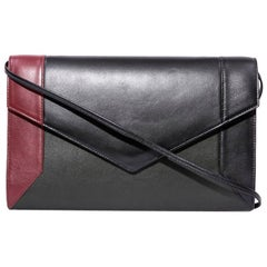 YLIANA YEPEZ Clutch in Tricolor Black, Red and Dark Green Leather